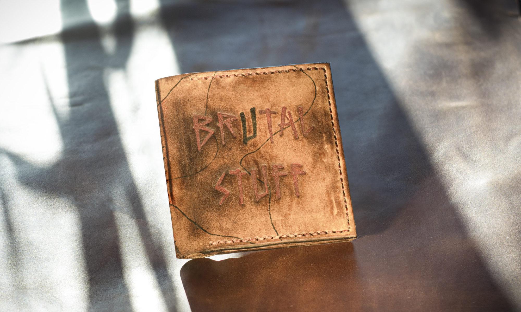 кожаный кошелёк тиснение татуировка тату кожа крафтовый